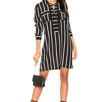 1. STATE Lace Up Shift Dress in Rich Black