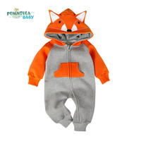 Baby Clothing Fox Bear Rompers Newborns Body Suit Kids Clothes Boy Girl Jumpsuit Baby Romper Hooded Warm Cotton Infant Overall