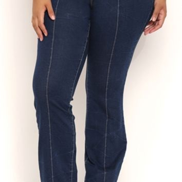 Plus Size Stretch Yoga Inspired Bootcut Jeans with Elastic Waistband