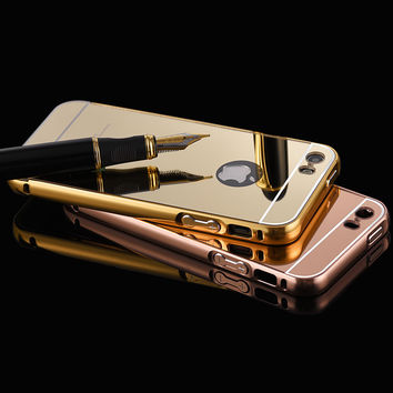 For iphone 5 Case Mirror Bumper Aluminum Luxury Case For Apple iphone 5 5S Ultra Thin Gold Plated Metal Frame Hard Back Cover