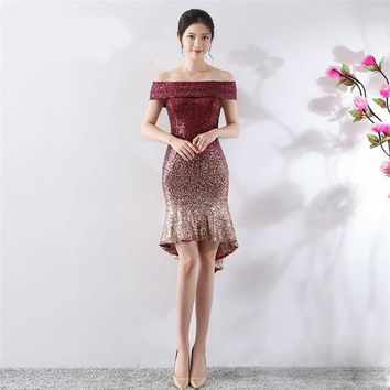 Boat Neck Off The Shoulder Bling Sequined Gown High-Low Asymmetrical  Dancing Party Dresses