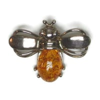 Vintage Cognac Amber Bee Pin Silver Bee Brooch Orange Amber Body Set in Sterling Silver