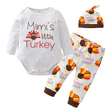 3PCS Thanksgiving Newborn Baby Boys Girls Clothes Long Sleeve Casual Romper Tops+Long Pant+Hat Infant Toddler Clothing Set