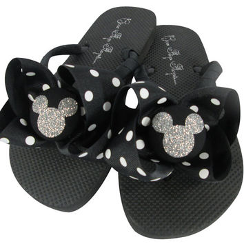 086b0e4befb2ee Vacation Disney Flip Flops with Bling! Many Colors. Black Polka and Glitter  Mickey Mouse
