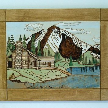 Log Cabin, Mountains, Pyrography, Landscape Wood Wall Art