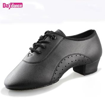 Men Boys Dance Shoes Black Low Heels Ballroom Dancing Shoes Tango Salsa Rumba Modern Latino Shoes For Boys Kids