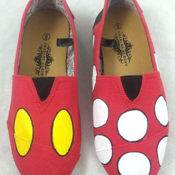 Custom Hand Painted Shoes - Mickey and Minnie Mouse