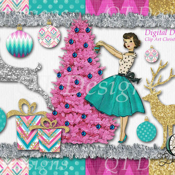 Christmas Package Graphic Design Pack | 9 png images with transparent background, high res 300 dpi | 4 12x12 paper background | Clip Art Set