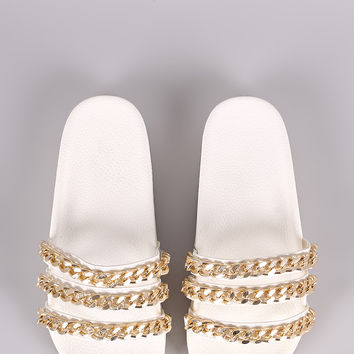 Triple Chain Lug Sole Slide Sandal