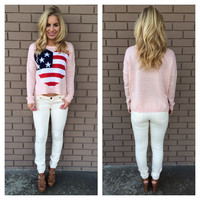 Baby Pink America Love Knit Crop Sweater