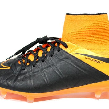 Nike Men's Hypervenom Phantom II LE FG Black/Orange Soccer Cleats 747501 008
