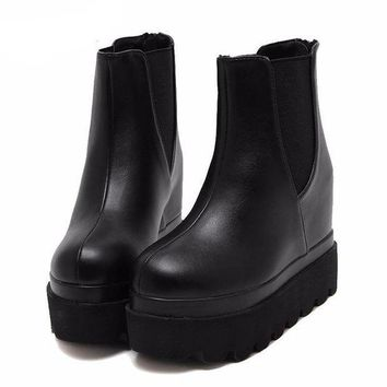 Womens Black Faux Leather Slip-On Platform Grunge Ankle High Boots