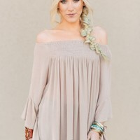 Laurel Smocked Taupe Blouse
