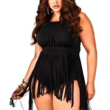 """Peru"" Fringe Skirt Plus Size Swimsuit - Black - Swimwear - Monif C"