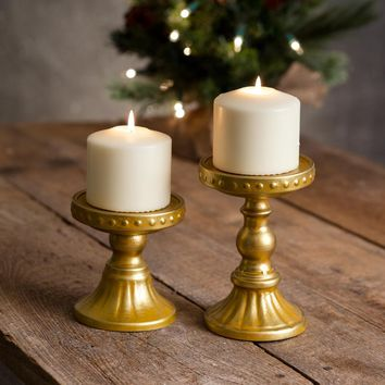 Set of Two Sommerset Gold Pillar Candle Holders