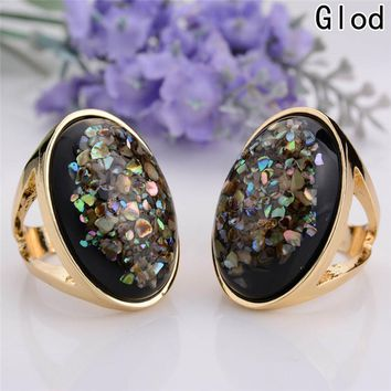 Amazing Design Antique Gold Color Colorful Oval Resin Personality Statement Classic Vintage Rings 2017 New Arrivals