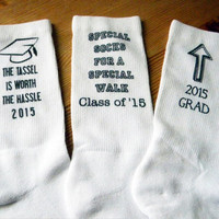 Class of 2015 Graduate Gift Idea- Graduation Gift Socks - Custom Printed Personalized Gift, White Crew Socks - 2015 Grad - Fun Socks