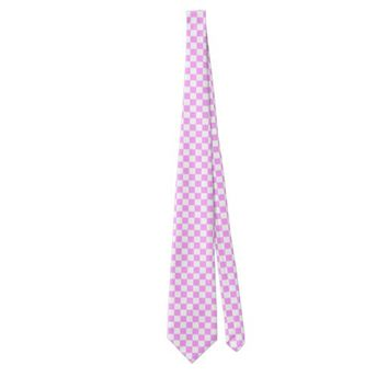 Light Pink and White Checkerboard Pattern Neck Tie