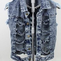 cut out lace up acid wash denim vest from mancphoebe