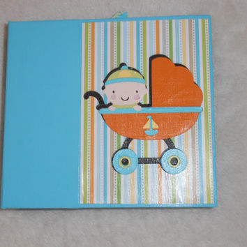 6x6 PreMade Baby Boy Chipboard Scrapbook Photo Album