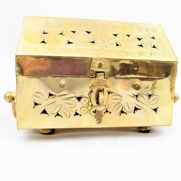 Brass Cricket Box, Hinged Lid with Side Handles, Footed Base, Vintage Home Decor