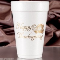 Happy Thanksgiving Cups 16 oz Foam - 60 Set Gold Ink Party Favors