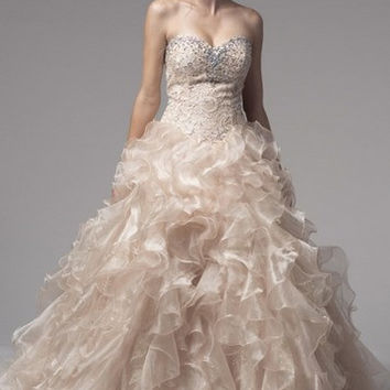 KCW1539 Oyster Lace Organza Ballgown Wedding Dress by Kari Chang Eternal