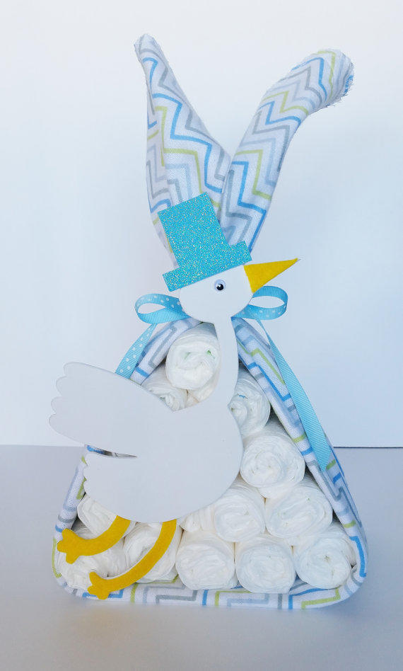Stork bundle baby shower gift baby boy from little love bugs for Baby shower decoration diaper cake