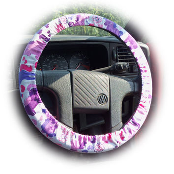 Unicorns steering wheel cover print Cute Cotton Unicorn pink purple car magical princess ponies horses girly girl pretty michael miller