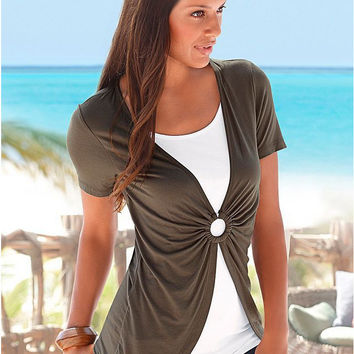 Khaki Hole Design Ruched Short Sleeve Top