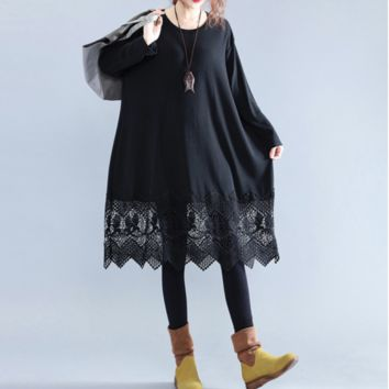 Fashion Oversized Crochet Lace Edge Tunic Long Dress Black or Green