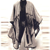 Cape Coat  Stylish Poncho Pure Italian Wool
