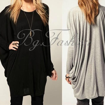 Korean Fashion Women's Casual Batwing Long Sleeve Blouse Tops Cotton Long T-Shirt  Jumper(Black,GreySize S-XXL)