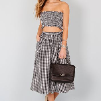 ENGLISH FACTORY | Blossom Picnic Midi Skirt - Gingham