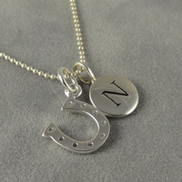 Custom Silver Horseshoe Initial Necklace - Personalized Necklace - Gift Idea Mom, Daughter, Wife, Best Friend