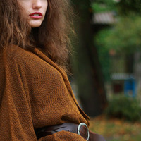 Loose Jacket Brown Linen Sweater Kimono Top  Women Cardigan Blazer Linen  Mustard Brown For Women, Custom Size and Color