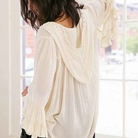 Ecote Nellie Hooded Bell-Sleeve Top- Cream