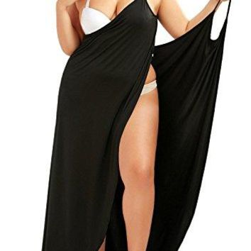 Plus Size Women's Spaghetti Strap Cover Up Beach Backless Wrap Long Dress