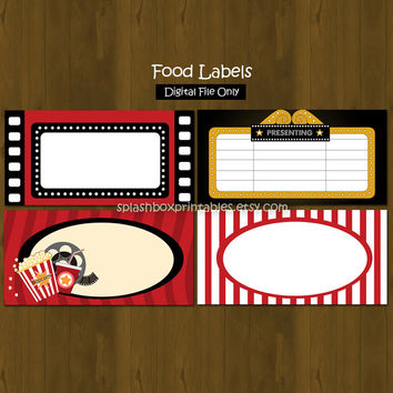 Movie Night Birthday Party Printable Food Labels or Place Cards - INSTANT DOWNLOAD