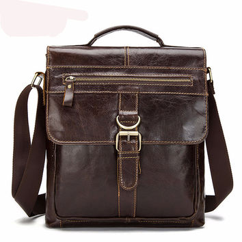 Genuine leather men messenger bags luxury small zipper men casual  business work shoulder bag