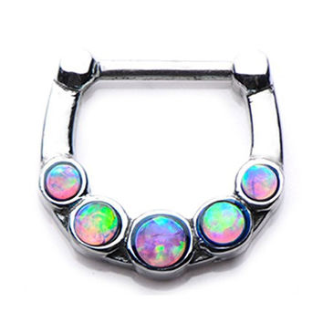 316L Septum Nose Ring Clicker 16g 5pcs PINK opal gem--FREE Gift Box w 72