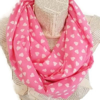Pink White Heart Infinity Scarf Circle Scarf, Women Accessories, Very soft and Lightweight