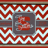 Monogrammed Gifts Door Mat Doormat Red Chevron with Gray Frame Personalized Door Mat Monogrammed Doormat Door Mat Personalized Wedding Gift
