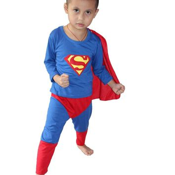 retail - Halloween Party costumes Hallowmas 3 - 7 Years kid superman Play clothes/Boy superman costume Cosplay T- shirt