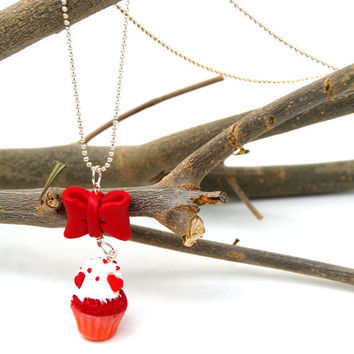 Miniature Red Velvet Cupcake Necklace