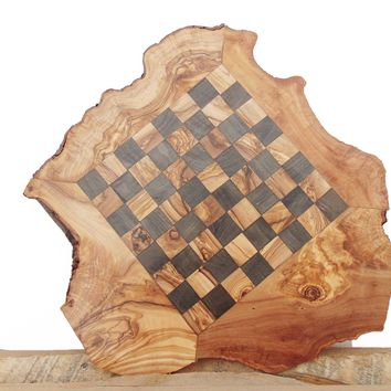 Unique Olive Wood Personalized Natural Edges Rustic Wooden Chess Set Board 14 In