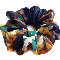 Navy Blue Hair Scrunchie Bright Flowers Chiffon Elastic Pony Tail Holder Retro Fancy Accessories for Women