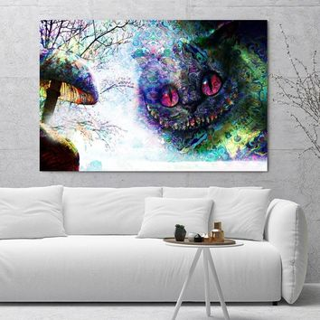 Alice in Wonderland Movie Cheshire Cat Poster Fabric Silk Poster For Home Decoration Print