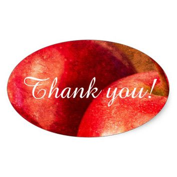 Three Red Apples Oval Sticker