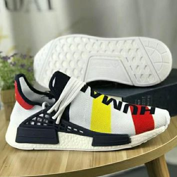 """""""Adidas"""" NMD Human Race Casual Women And Men Fashion Trending Running Sports Letter Print Shoes Sneakers Contrast Color Rainbow Stripe"""